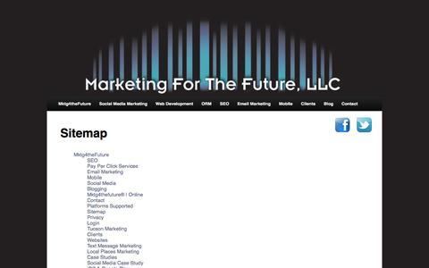 Screenshot of Site Map Page mktg4thefuture.com - Sitemap - captured Sept. 30, 2014