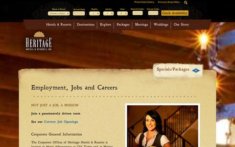 Screenshot of Jobs Page hhandr.com - Hotel Jobs in New Mexico & Heritage Hotels & Resorts Jobs/Careers | Heritage Hotels & Resorts - captured Oct. 2, 2014