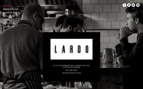 Screenshot of Home Page lardo.co.uk - LARDO | Salume, Pizza | 020 8985 2683 - captured Jan. 22, 2016