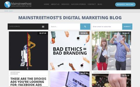 Screenshot of Blog mainstreethost.com - Mainstreethost's Digital Marketing Blog | Page 1 - captured Dec. 21, 2015