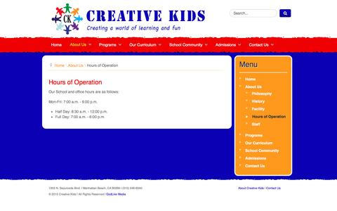 Screenshot of Hours Page creativekidsmanhattanbeach.com - Hours of Operation - Creative Kids Manhattan Beach - captured Jan. 2, 2017