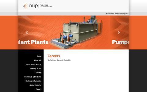 Screenshot of Jobs Page mipprocess.com - MIP Process Technologies | Careers - captured Nov. 18, 2016