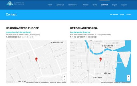 Screenshot of Contact Page lumiartecnia.com - Contact | Lumiartecnia Internacional - captured Nov. 15, 2016