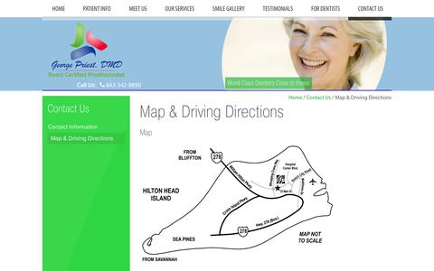 Screenshot of Maps & Directions Page georgepriest.com - Driving Directions, Prosthodontist George Priest DMD Hilton Head Island SC - captured July 2, 2018