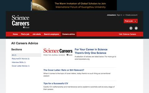 Screenshot of Jobs Page sciencecareers.org - Articles and careers information on Science Careers - captured Oct. 30, 2016