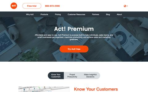 Screenshot of Products Page act.com - Customer & Contact Management Software Products | Act! - captured June 16, 2016