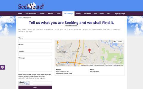 Screenshot of Contact Page seekye.net - SeekYe.Net Contact Us - captured Oct. 7, 2014