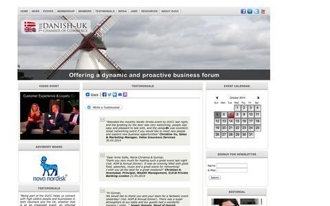 Screenshot of Testimonials Page ducc.co.uk - DUCC | Danish-UK Chamber of Commerce - captured Oct. 5, 2014