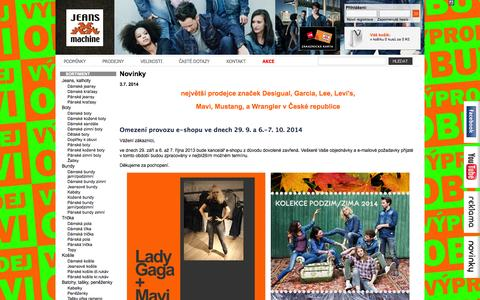 Screenshot of Home Page jeansmachine.cz - JEANS MACHINE, a.s.   jeans eshop - captured Oct. 6, 2014