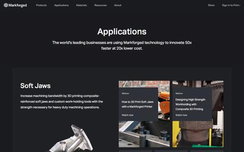 Screenshot of Case Studies Page markforged.com - Applications - captured Aug. 9, 2018