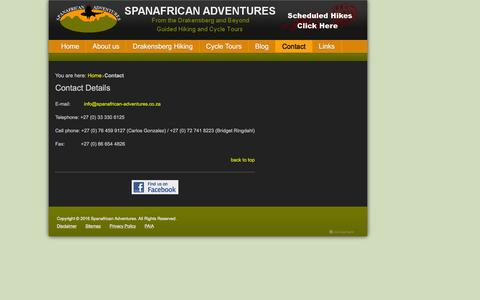 Screenshot of Contact Page spanafrican-adventures.co.za - Contact Details - Spanafrican Adventures - Drakensberg / Drakensburg Guided Hiking and Cycle Tours - captured Aug. 15, 2016