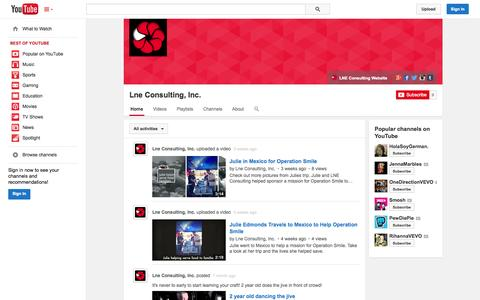 Screenshot of YouTube Page youtube.com - Lne Consulting, Inc.  - YouTube - captured Oct. 22, 2014
