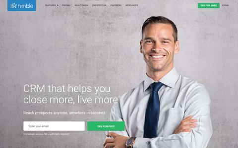 Screenshot of Home Page nimble.com - Nimble CRM | A social CRM software company - Nimble.com - captured Aug. 18, 2018