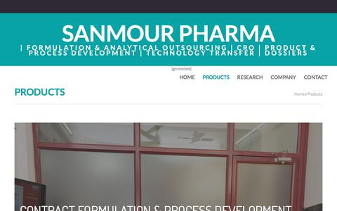 Screenshot of Products Page sanmour.com - Products  |  Sanmour Pharma - captured May 27, 2017