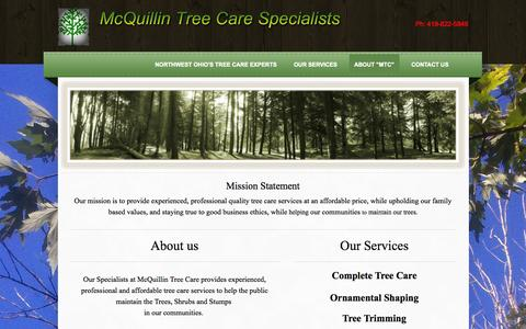 Screenshot of About Page mcquillintreeservice.com - McQuillin Tree Care   Tree Care Service Provider Serving Delta Oh - Northwest Ohio's Tree Care Experts - captured Oct. 27, 2014