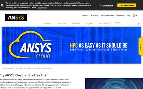 Screenshot of Trial Page ansys.com - ANSYS Cloud Free Trial - captured Feb. 9, 2019