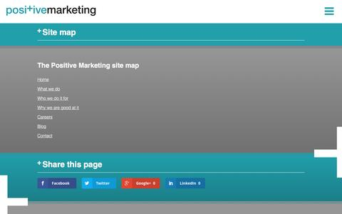 Screenshot of Site Map Page positivemarketing.com - Site map - Positive Marketing - captured July 14, 2016