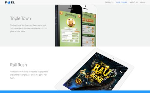 Screenshot of Case Studies Page fuelpowered.com - Fuel Powered | Features-as-a-Service for mobile games - captured Sept. 22, 2015