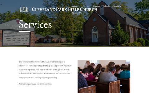 Screenshot of Services Page clevelandparkbible.org - Services   Cleveland Park Bible Church - captured Sept. 28, 2018