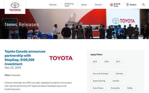 Screenshot of Press Page toyota.ca - News Releases - Toyota Canada - captured Dec. 3, 2019