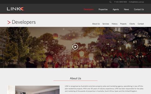 Screenshot of Developers Page linkinc.com.au - Developers « LINK - captured Oct. 1, 2014