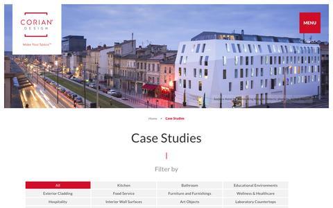 Screenshot of Case Studies Page corian.com - Case Studies - DuPont™ Corian® solid surfaces, Corian® - captured June 16, 2018