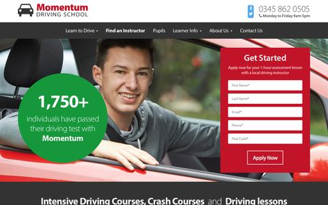 Screenshot of Home Page momentumdrivingschool.com - Intensive Driving Courses & Lessons - Momentum Driving School - captured Aug. 12, 2015