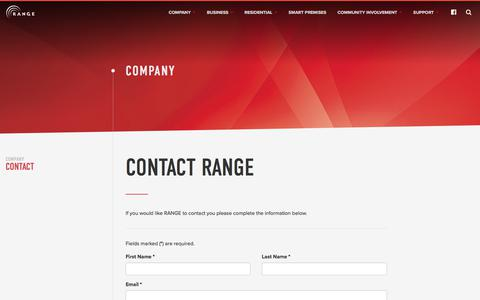 Screenshot of Contact Page rangeweb.net - Contact – Range Telephone Cooperative - captured Nov. 5, 2017