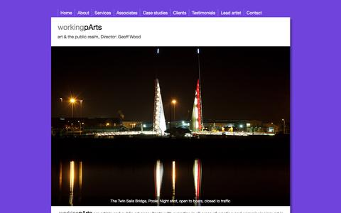 Screenshot of Home Page working-parts.com - workingpArts — art & the public realm - captured Feb. 24, 2016
