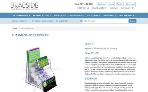 Screenshot of Case Studies Page braesidedisplays.com - Pharma Sampler Display - Braeside Displays Custom Solutions, Pharmaceutical Case Study - captured Aug. 3, 2018