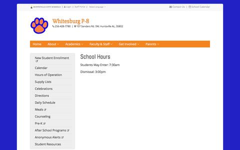 Screenshot of Hours Page huntsvillecityschools.org - School Hours | Whitesburg P-8 | Huntsville City Schools - captured Jan. 4, 2017