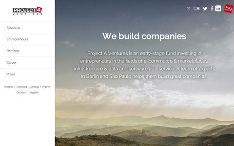 Screenshot of project-a.com - Project A Ventures   We build companies   We build companies - captured Jan. 21, 2016