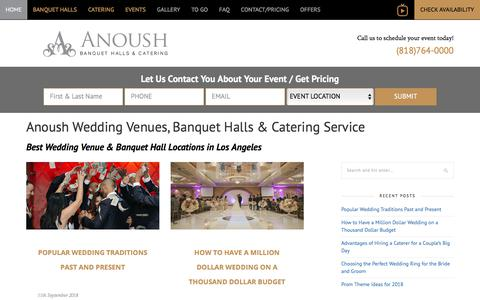 Screenshot of Blog anoush.com - Anoush Wedding & Catering Blog | Best Wedding Venue & Banquet Hall Ideas & Info - captured Aug. 19, 2019
