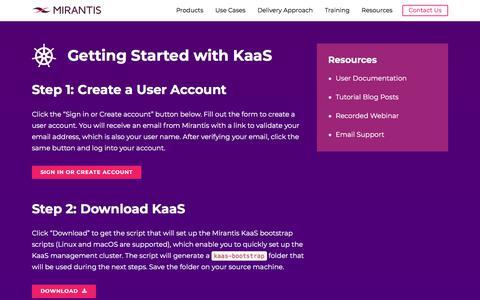 Screenshot of Login Page mirantis.com - Download KaaS   Mirantis - captured Nov. 23, 2019