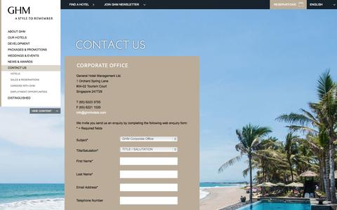 Screenshot of Contact Page ghmhotels.com - Contact | Luxury Hotel Resorts | GHM Hotels - captured Sept. 23, 2014