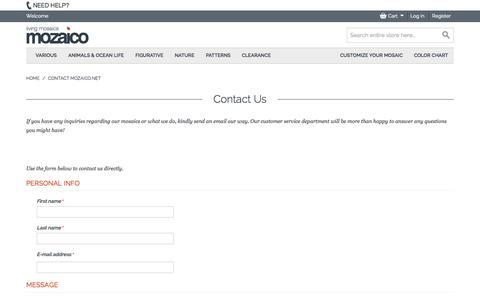 Screenshot of Contact Page mozaico.net - Contact Mozaico.net - captured Nov. 5, 2014