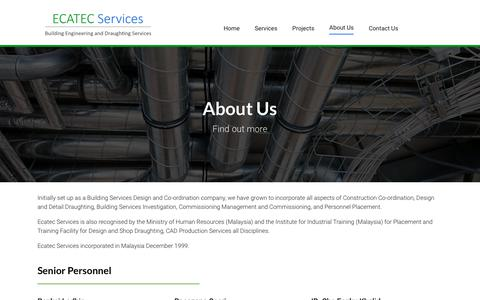 Screenshot of About Page ecatecservices.com - About Us - Ecatec Services - captured Sept. 25, 2018