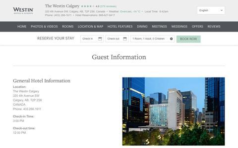 Screenshot of FAQ Page westincalgary.com - Guest Information | The Westin Calgary Hotel - captured Jan. 6, 2017