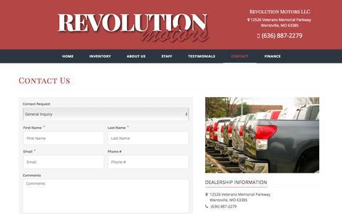 Screenshot of Contact Page revolution-motors.net - Contact Revolution Motors LLC Dealership Wentzville MO 63385 - captured Nov. 12, 2017