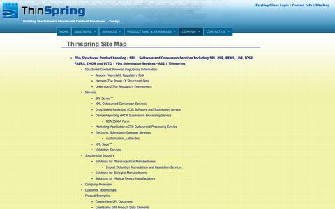 Screenshot of Site Map Page thinspring.com - FDA Structured Product Labeling - SPL   Software and Conversion Services Including SPL, PLR, REMS, LDR, ICSR, FAERS, EMDR and ECTD   FDA Submission Services - AS2   Thinspring - captured Nov. 19, 2018