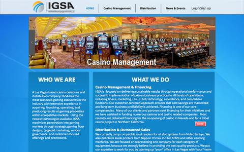 Screenshot of Home Page igsofamerica.com - IGSA, Casino Management, Casino Financing, Sales Team Outsourcing. - captured Oct. 6, 2014