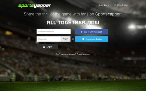 Screenshot of Login Page sportsyapper.com - SportsYapper | Login - captured Sept. 17, 2014