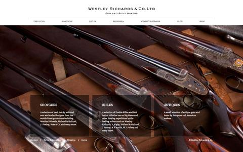 Screenshot of Home Page wrusedguns.com - Westley Richards Used Guns - One of the worlds finest selections of used shotguns, rifles, and antique guns. - captured Sept. 20, 2015