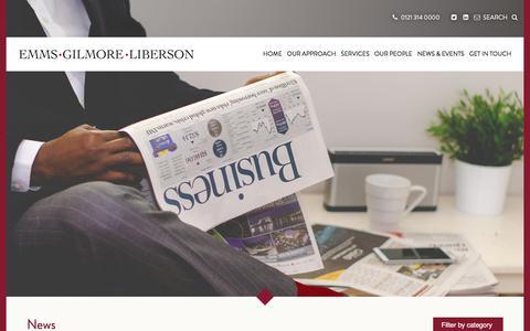 Screenshot of Press Page egl-law.com - News & Events | Emms Gilmore Liberson - captured Aug. 2, 2017