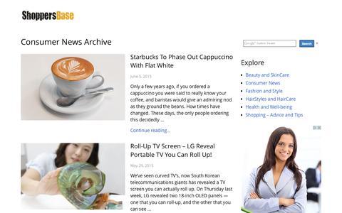 Screenshot of Press Page shoppersbase.com - Consumer News - captured Aug. 5, 2015
