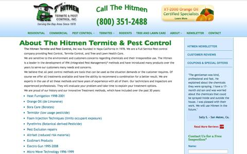 Screenshot of About Page hitmenpest.com - About The Hitmen Termite & Pest Control, Bay Area Orange Oil Experts - captured Nov. 2, 2014