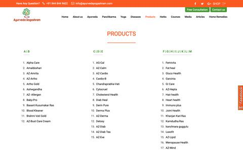 Screenshot of Products Page ayurvedayogashram.com - Ayurvedic Products | Ayurvedic Medicine - captured Feb. 24, 2019