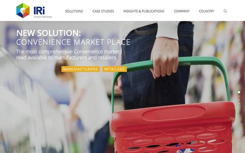 Screenshot of Home Page iriworldwide.com - IRI - Delivering Growth for CPG, Retail, and Healthcare - captured Sept. 16, 2015
