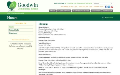Screenshot of Hours Page goodwinch.org - Hours - Goodwin Community Health - captured Nov. 11, 2016