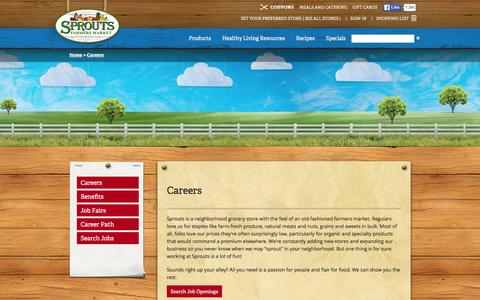 Screenshot of Jobs Page sprouts.com - Careers - Sprouts Farmers Market - captured Jan. 14, 2016